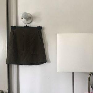 Madewell silk moss green skirt 00